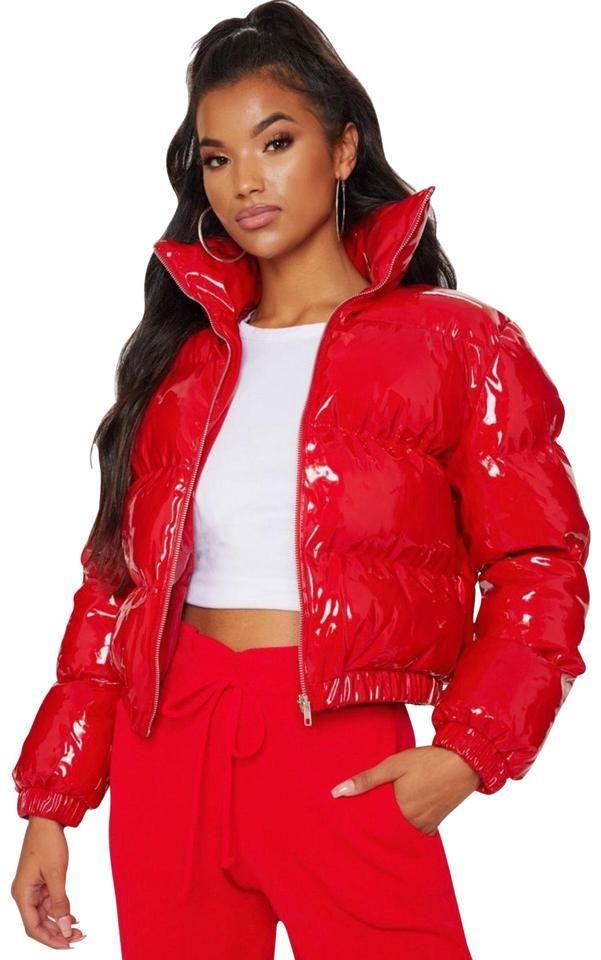 Tradesy Red Cropped Vinyl Puffer Jacket Coat Size Petite 4 S Red Puffer Jacket Puffer Jacket Outfit Coats For Women