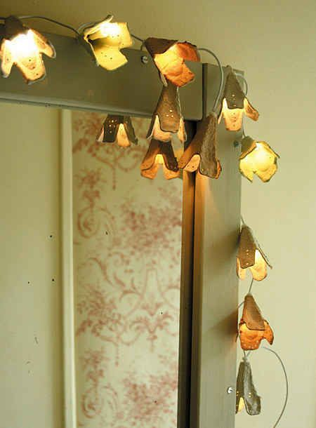 These fairy lights are made with an upcycled egg carton.