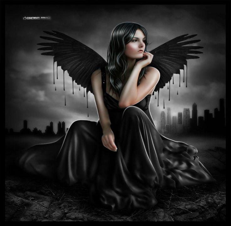 fantasy dark angels gothic | Angel Melting, angel, black, city, dark, Fantasy, gothic, gown ...