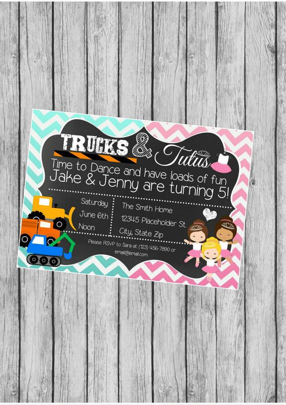 Twin Birthday Party Invite - Trucks and Tutus - Chalkboard Invite -  DIY Printable File on Etsy, $10.00