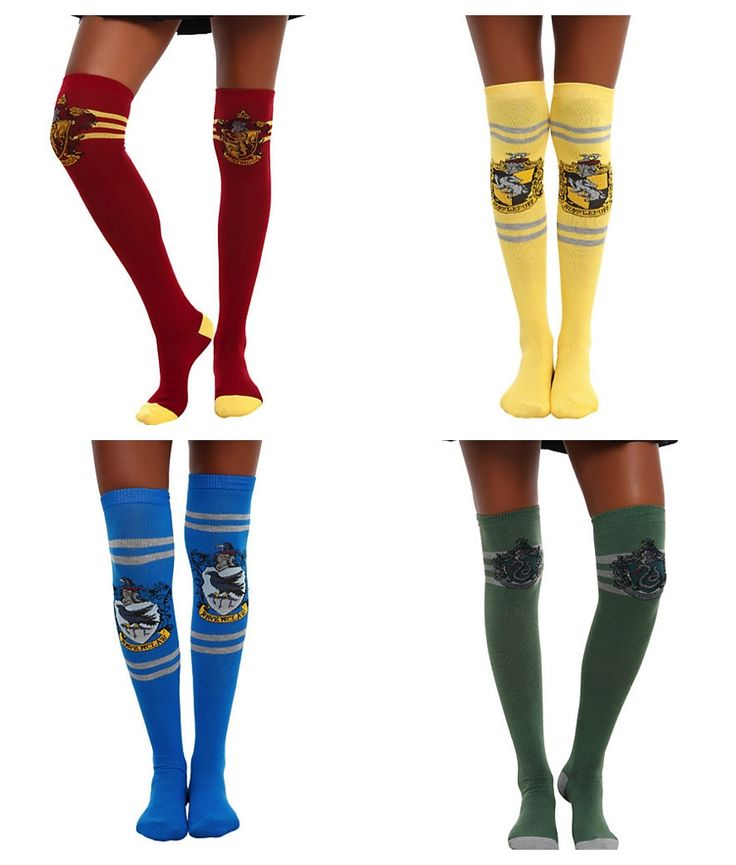 harry potter knee high socks. I want them all, but I'll take Ravenclaw since that's the house that Pottermore sorted me into.