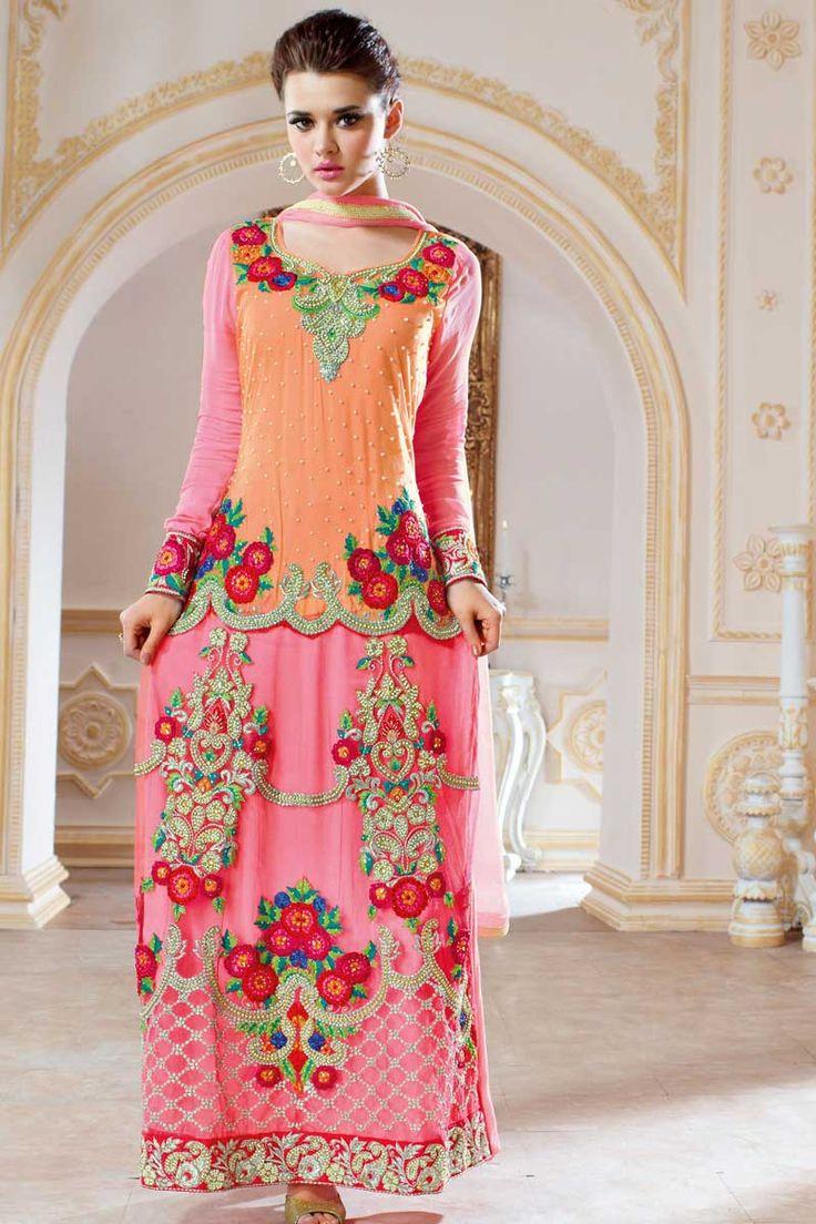 Orange Rose Churidar Net prix de Costume : -139,82 € Orange et net rose , semi costume churidar stictch de Anarkali . Col V , longueur genou dessus , manches complètes kameez . Churidar de santoon rose . Dupatta en mousseline de soie rose . Il est parfait pour vêtements de mariée, vêtements de sport , vêtements de fête et de l'usure du parti usure .  http://www.andaazfashion.fr/orange-pink-net-churidar-suit-dmv13530.html