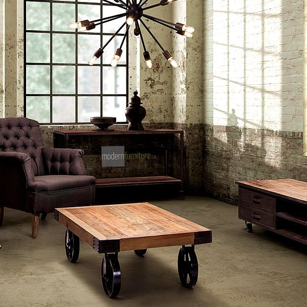 An early 1900's industrial original design that was once used to transport furniture, fabric and supplies across the factory floors. The Barbary Coast Cart is an homage to the classic work cart. #rustic #steampunk #furnituredesign #classic
