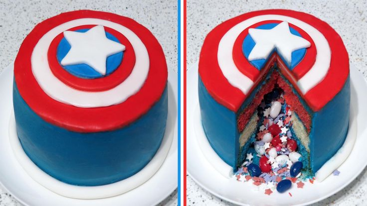 Captain America Surprise Inside/Pinata Cake Recipe | CupcakeGirl