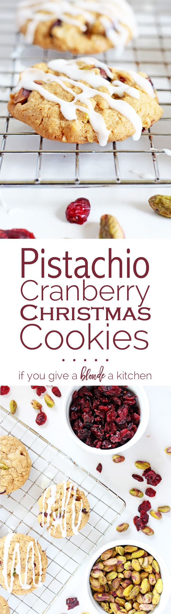 Pistachio cranberry Christmas cookies are made with an oatmeal cookie base, loaded with pistachios and cranberries, and then drizzled with a simple icing. | www.ifyougiveablondeakitchen.com