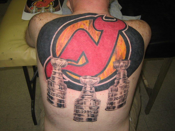 Massive 3 cup back tattoo new york giants and new jersey for Tattoo artist new jersey