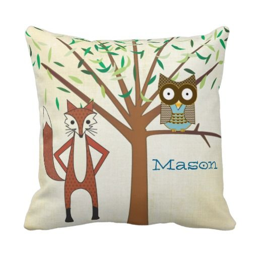 Cute Pillows For Your Room : This is great for Personalized Baby Boy s Room Cute Fox and Owl Throw Pillows Personalized Baby ...