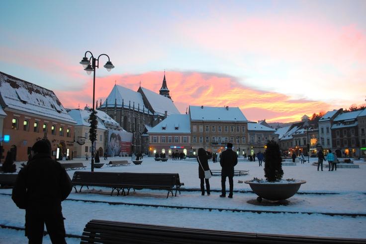 Sunset above Piata Sfatului, Brasov, Romania