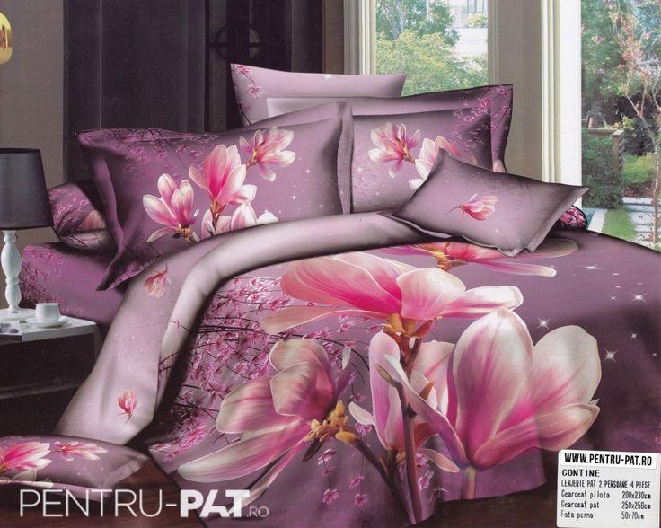 Lenjerie de pat bumbac dublu satinat de lux Casa New Fashion 3D cu magnolie