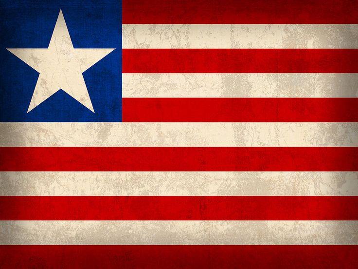Liberia Flag Vintage Distressed Finish Mixed Media