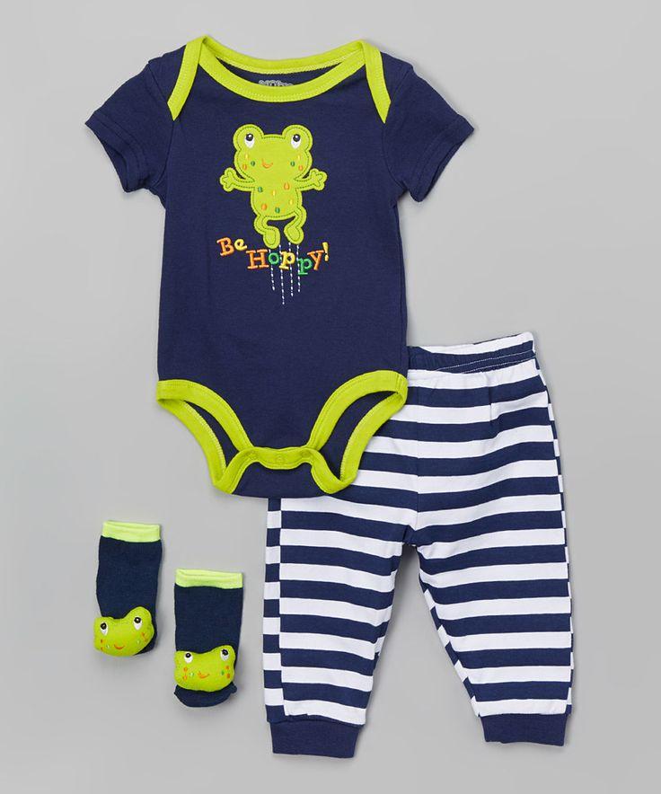 Look what I found on #zulily! Blue & Green 'Be Hoppy' Frog Bodysuit Set by Nûby #zulilyfinds