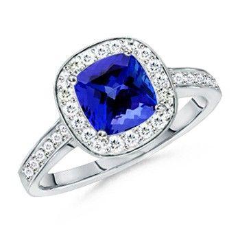 Angara Vogel Cushion Tanzanite and Diamond Halo Ring in Platinum FceOuN