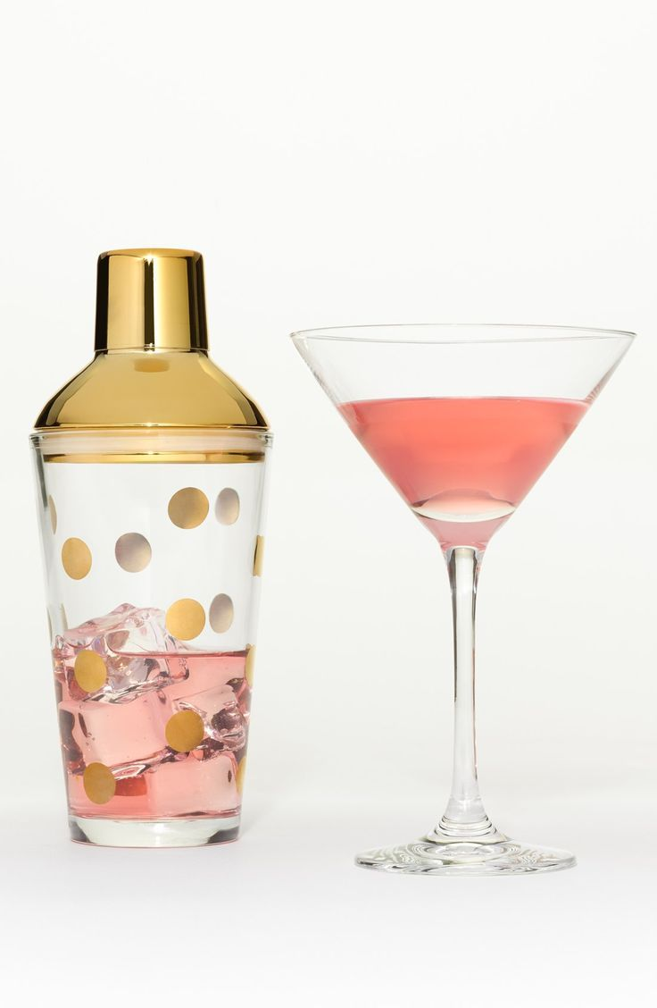 Adding a fun touch to the home bar with this gold polka dot glass shaker by Kate Spade, that will assist in mixing up dynamite drinks and crazy cocktails.