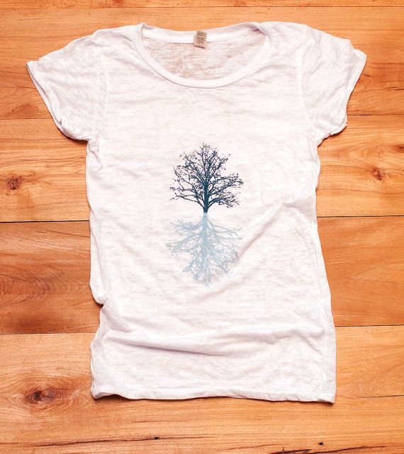 in my shadow Tree Tshirt, Yoga Top, Burnout Tee, White Tee, S,M,L,XL on Etsy, $26.00