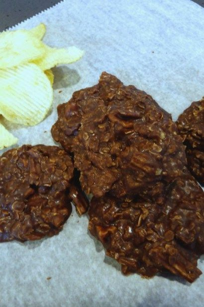 Chocolate Potato Chip No Bake Cookies