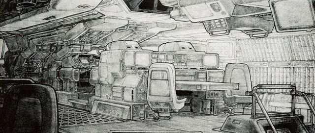 Alien Concept Art: Nostromo Bridge by Ron Cobb