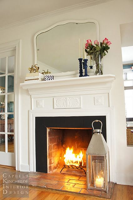 Big Lantern By Fireplace When Wood Basket And Tools Are Put Away ToolsLiving Room