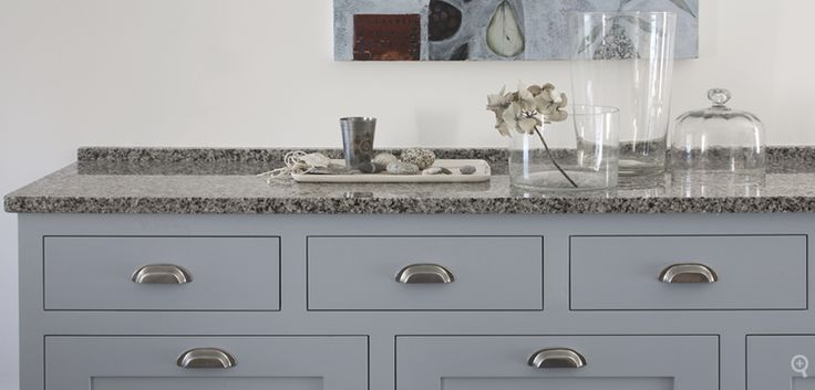 Azul Platino Granite Counter With Almost Our Same Cabinet