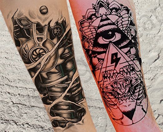 8 Sheets Temporary Tattoos for Guys for Men - Fake Tattoo, Biker Tattoos, Rocker Stickers for Arms Shoulders Chest & Back - Boys Tattoos Body Art Tattoo Sticker4