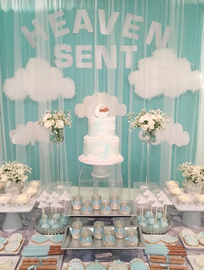 Captivating Heaven Sent Baby Shower » Mondeliceblog.com. Babyshower Dessert TableBabyshower  Themes ...