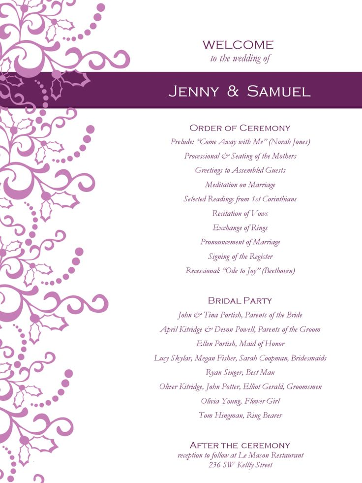 18 best Wedding Program images on Pinterest Wedding programs - blank program template