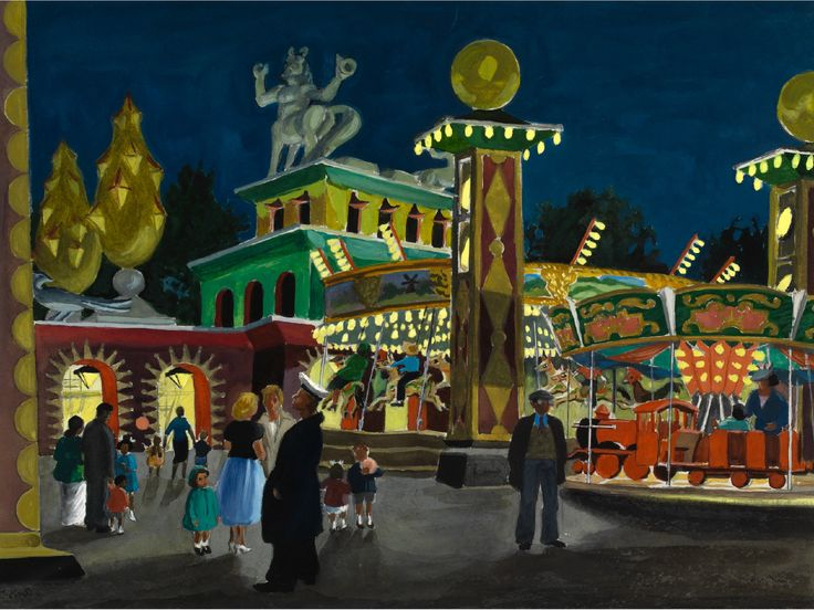 CLODAGH SPARROW (1905-1957) BATTERSEA FAIRGROUND BY NIGHT signed in pen and dated 1955, titled verso with the artist's address in Norland Sq. W14; watercolour & gouache 28.5cm by 38cm; 11in by 15in  Provenance The Artist's family  Sparrow worked for the Norwegian High Command during WW2, producing maps for raids on occupied Norway. After the War she studied at Byam Shaw and the Slade.