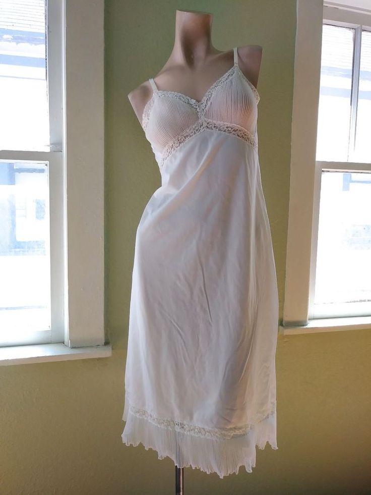 VTG Slip 1950s 1960s Full Slip 50s 60s White Slip Bridal Pin Up Sz S B34 #Unbranded #Slip #Formal
