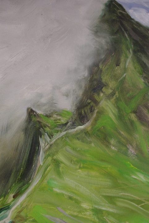 Cyprian Nocoń three paths detail 2017 oil on canvas mountains tatry