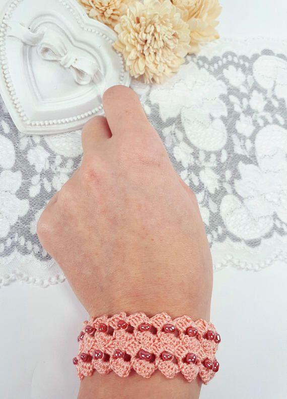 Salmon crochet bracelet beaded bracelet salmon crochet