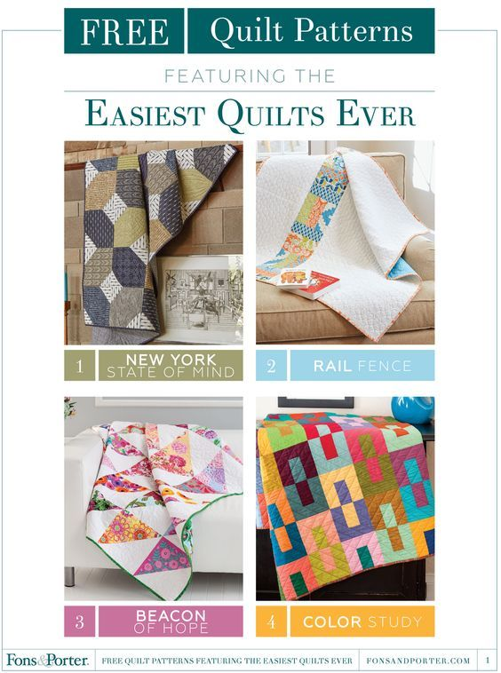 Free Quilt Patterns featuring the Easiest Quilts Ever ebook: Get one download of four easy quilts to make with this free ebook from Fons & Porter.