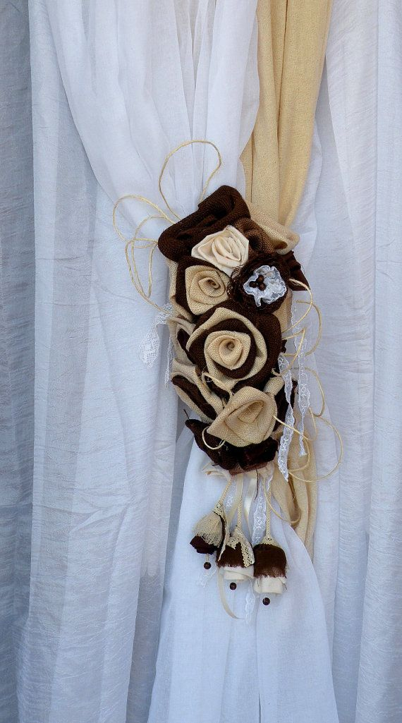 Burlap Flowers Bouquet Curtain Tie Back - Curtain Tie Back - Curtain accessory - rustic window treatments - Country House - Home decor