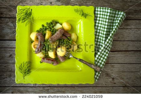#Overhead #shot of #plate with #sausages, #potatoes and #greenpeas. - #stockphoto #Shutterstock