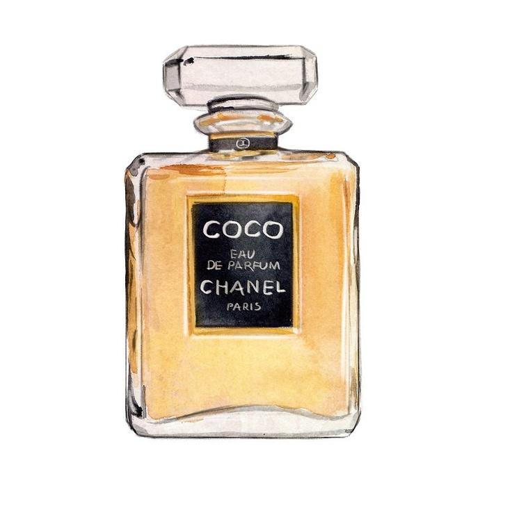 Mothers Day Gift, Chanel Coco Eau De Parfum Watercolor Illustration. $10.00
