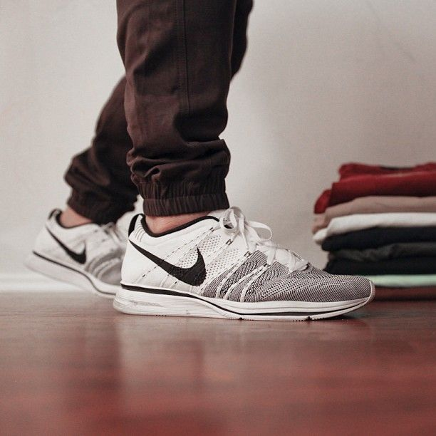 My favorite combo: Publish Brand joggers and white Flyknit Trainers.