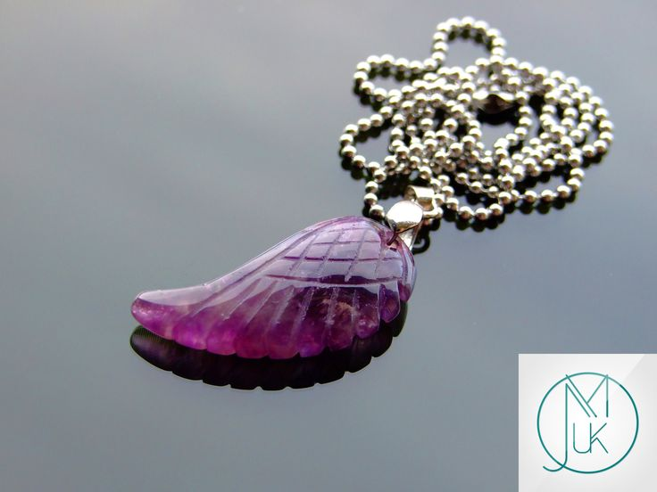 Angel Wing Natural Gemstone Pendant with Chain 15 Gemstones to Choose - michaelaukjewelry - 2