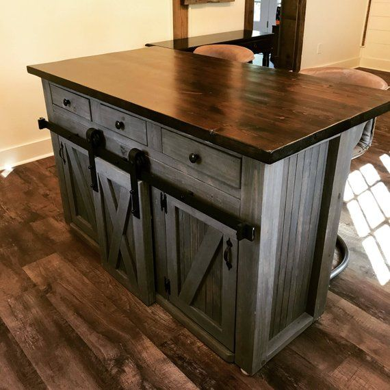 Kitchen Island With Sliding Barn Door Kitchen Remodeling Projects Kitchen Remodel Layout Kitchen Remodel Small