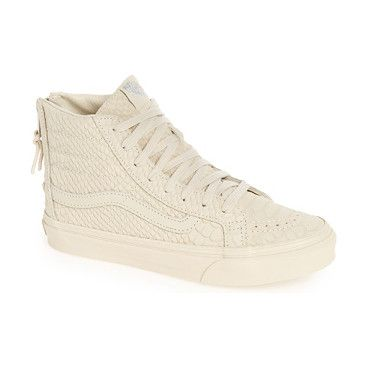 mono python sk8-hi slim zip high top by Vans. Python-textured suede defines this slimmed-down version of Vans' classic high-top sneaker outfitted with a padded col...