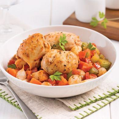 Mijoté de poulet aux légumes et tomates - Soupers de semaine - Recettes 5-15 - Recettes express 5/15 - Pratico Pratique