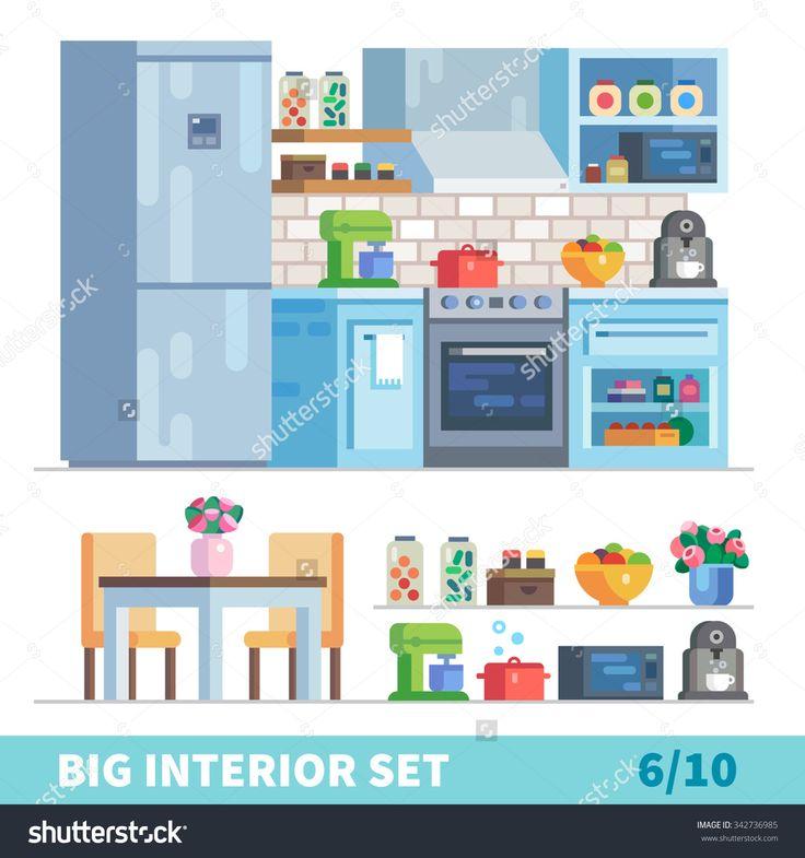 stock-vector-big-detailed-interior-set-kitchen-and-dinning-room-fridge-mixer-oven-fruit-vase-coffee-342736985.jpg (1500×1600)