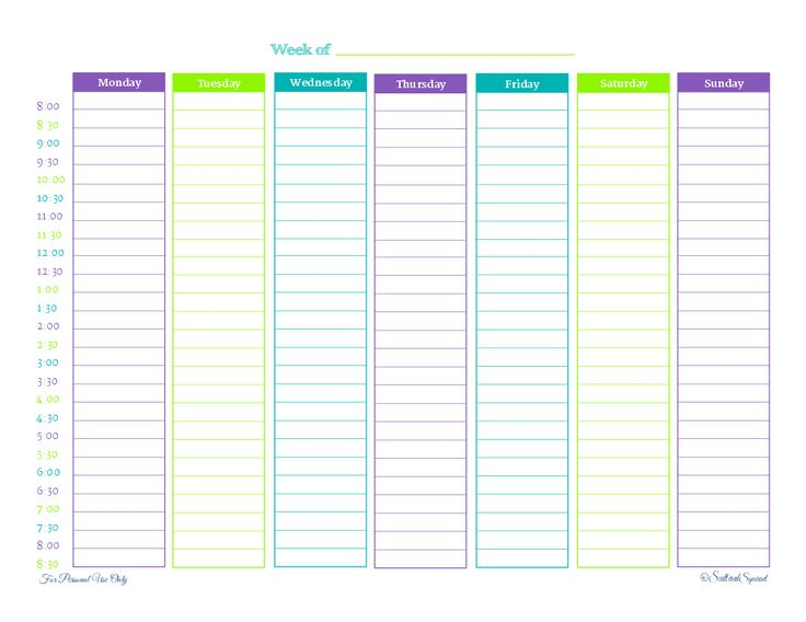 weekly schedule template pdf custom no dates