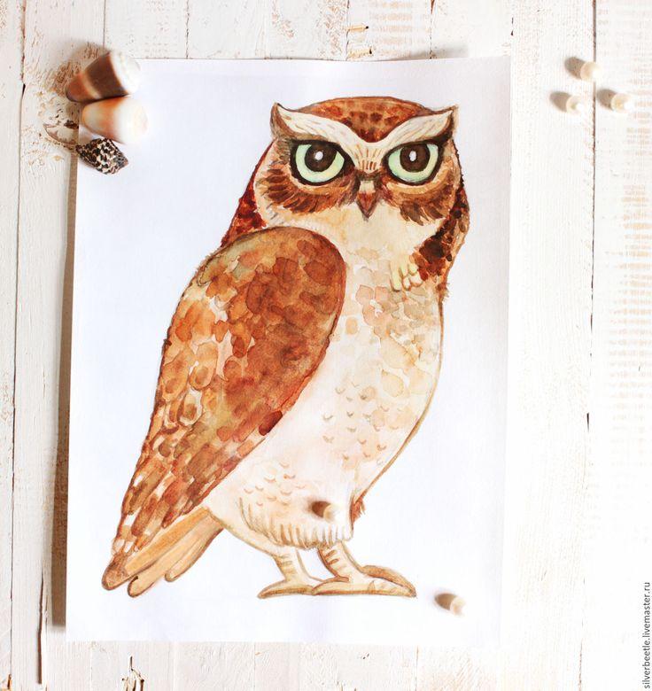 Купить Сказочная картина Почтовая сова - принт (по мотивам Гарри Поттера) - коричневый, сова