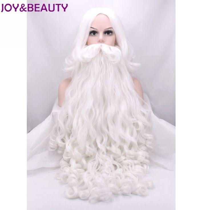 JOY&BEAUTY Santa Claus Long Wavy Wig White Santa Claus beard set Fancy High Temperature Fiber Cosplay wig  #Affiliate