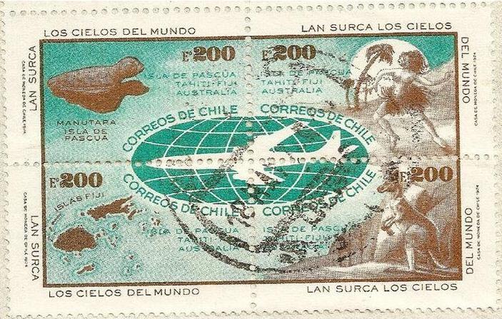 Se-tenant de sellos de Correos de Chile. Santiago-Australia via Tahiti Manutara, Rapa-Nui, Fiji y Australia (Canguro).