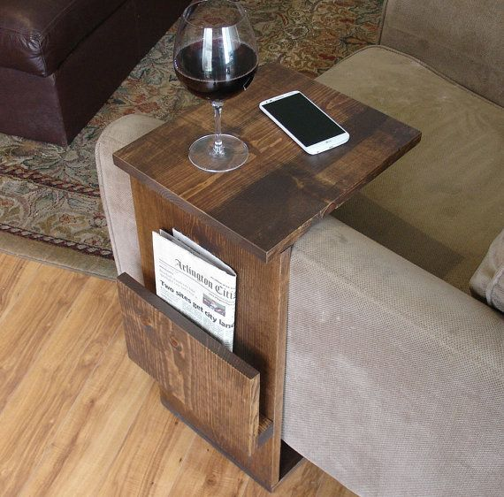 I could soooo make this myself for WAY less than $140.  Sofa Chair Arm Rest TV Tray Table Stand with Side by KeoDecor
