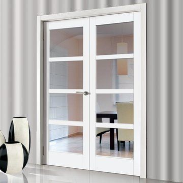 Best Shaker White Primed Rebated Door Pair With Clear Safety 640 x 480
