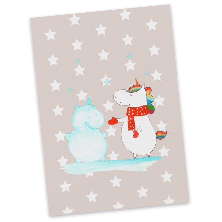 Postkarte Einhorn Schneemann aus Karton 300 Gramm  weiß - Das Original von Mr. & Mrs. Panda.  Jedes wunderschöne Motiv auf unseren Postkarten aus dem Hause Mr. & Mrs. Panda wird mit viel Liebe von Mrs. Panda handgezeichnet und entworfen.  Unsere Postkarten werden mit sehr hochwertigen Tinten gedruckt und sind 40 Jahre UV-Lichtbeständig. Deine Postkarte wird sicher verpackt per Post geliefert.    Über unser Motiv Einhorn Schneemann  Das Winter-Einhorn macht richtig Lust auf den ersten Schnee…