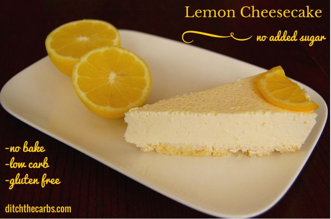 Easy recipe for sugar free no bake lemon cheesecake. SO simple it doesn't even need baking!!! And to top it off, it is gluten free, grain free and soon tasty. | ditchthecarbs.com