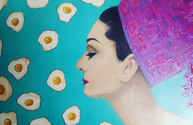 """Breakfast with Audrey""  12x18 acrylic on canvas"