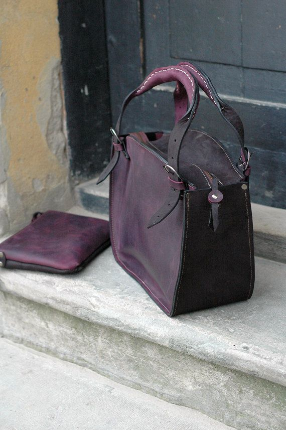 Leather Shoulder Bag with Clutch Set by ladybuq on Etsy