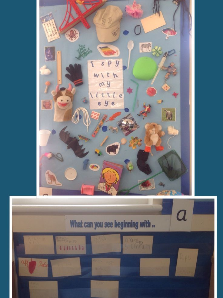 I Spy phonic display. Reception children see the 'letter of the day' and look on the board to find something beginning with the letter. They write the word down on a piece of card using their phonic knowledge. They are then encouraged to draw a picture of the item, write their name and display it in the wall folder for all to see.
